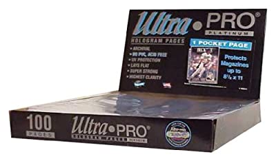"Ultra Pro 1-Pocket Platinum Page with 8-1/2"" X 11"" Pocket 100 ct."