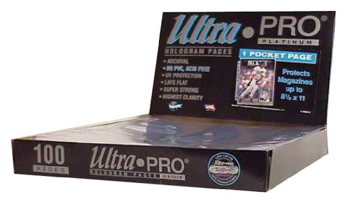 Ultra Pro 1 Pocket Platinum Page With 8 1 2  X 11  Pocket 100 Ct
