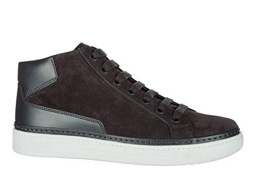 Prada Herenschoenen Hoge Top Suède Sneakers Sneakers Grijs