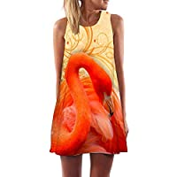 Plus S-3XL Less Beach Boho Dress Flamingo Floral Print Clothes Short Dresses Casual