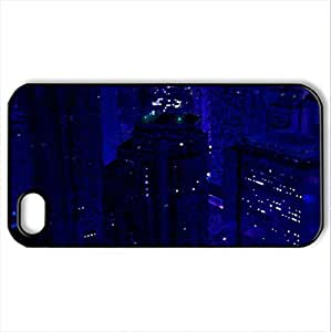 beautiful dark cityscape - Case Cover for iPhone 4 and 4s (Skyscrapers Series, Watercolor style, Black)