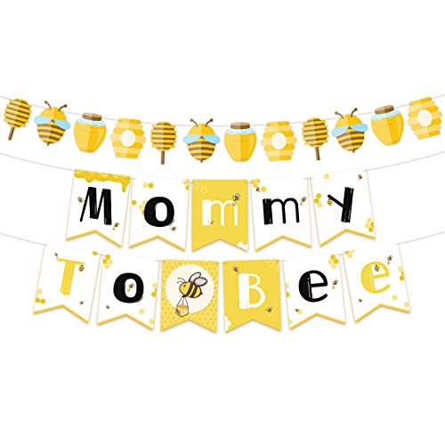 Bunting Bee Bumble - NICROLANDEE Bee and Honey Baby Shower Banner Mommy To Bee Paper Garland for Bumble Bee Gender Reveal Party Bumblebee Themed Baby Shower Decoration