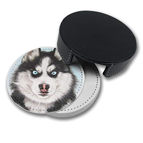 NGFF Fierce Husky Round Drinks Coasters with Holder Set of 6 PU Leather Cup Pads