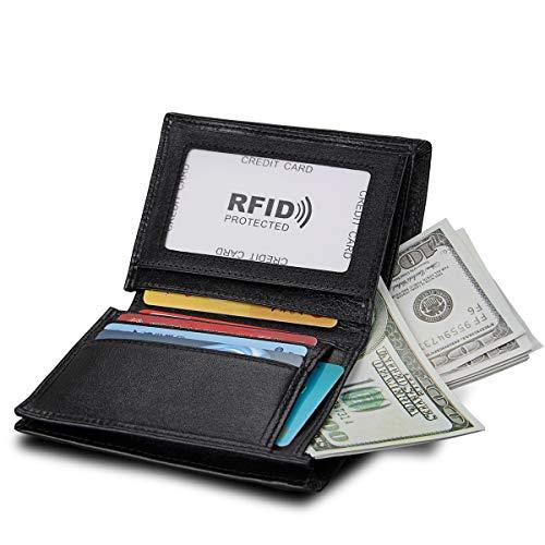 Fold Bi Vertical - Mens Genuine Leather Wallet - RFID Blocking Slim Bifold Wallet With ID Window for Men (Black, Vertical)