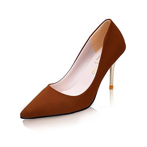 LIVY Nueva primavera y el verano de 2017 zapatos de tacón alto de los zapatos zapatos de moda de las mujeres de la PU de las mujeres Marrón