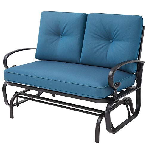 Oakmont Outdoor Loveseat Swing Rocking Glider 2 Seats Wrought Iron Furniture Set Peacock Blue