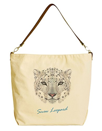 Leopard Printed Leather Tote (Snow Leopard Portrait Beige Printed Canvas Tote Bag with Leather Strap WAS_29)