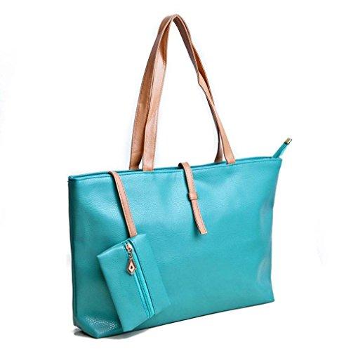 Womens Ladies Korean Leather Messenger Hobo Shoulder Handbag Tote Purse Hand Bag-Turquoise