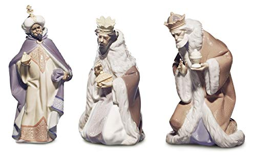 Lladro Three Kings Nativity Set- King Balthazar #5481, King Melchior #5479, and King Gaspar #5480
