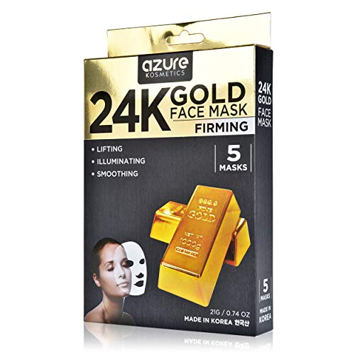 24K Gold Firming Face Mask by Azure - Helps Reduce Spots and Wrinkles   Helps Increase Skins Elasticity   Helps Hydrate, Firm and Rejuvenate - 5 Pack