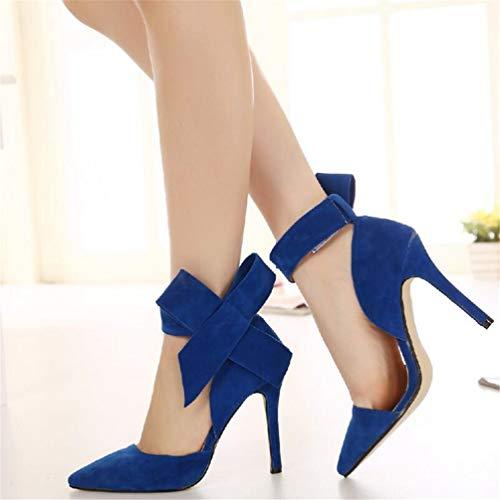 Papillon Pompes Talons de Sandales Chaussures Stiletto Femme Bleu Chaussures Pointu Mariage Femme qH6Ex6wpT