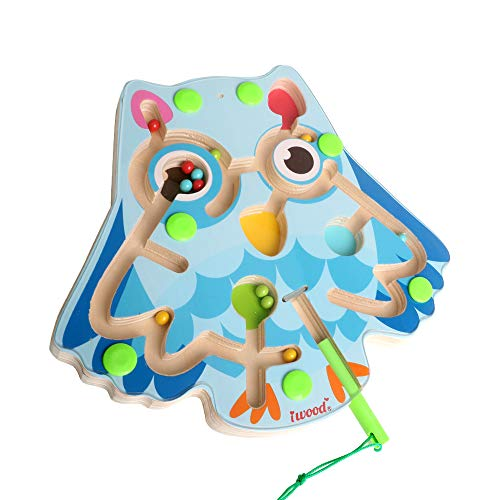 (iwood Magnetic Wand Maze Wooden Board Game Magnetic Educational Toys for Boys Girls Toddlers, Develops Color Recognition, Owl Shape)
