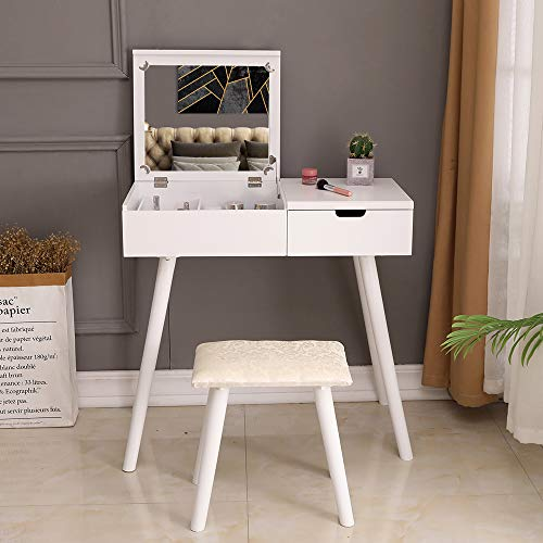 Bonnlo White Vanity Table Set with Flip Top Mirror Dressing Desk Vanity Makeup Table with Stool and Drawer
