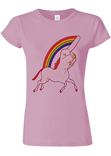 複数共同選択言うまでもなくUnicorn Middle Finger Funny Novelty Light Pink Women T Shirt Top-S