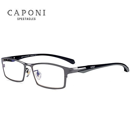 Caponi Men Titanium Eyeglasses Frame For Men Eyewear Clear Lens Flexible TR90 Temples Full Rim 9064 (Gun)