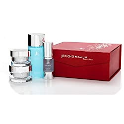Age defying Luxury Beauty Pack by Jericho - Includes, Skin Toner, Active Serum, Restoring Day Cream and Eye and Neck Gel