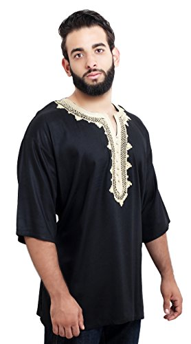 Moroccan Men Tunic Caftan Breathable Fiber Cotton Handmade Embroidery Ethnic Black