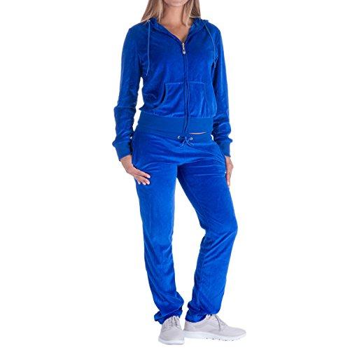 (Evrimas Women's 2 Piece Outfits Oversize Velvet Zip Hoodie Sweatshirt & Pants Sweatsuits and Velour Tracksuit Jogging Suit Royal Blue)