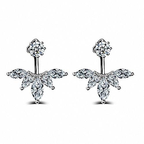 megko Fashion Crystal Feather Earrings product image
