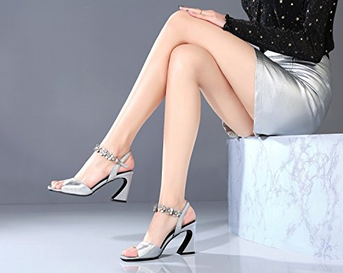 Jqdyl High Heels Weibliche Sandalen Sommer Thick High Heel Fischmaul Buckle  36|Silver