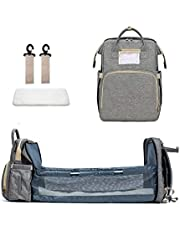3 in 1 Travel Bassinet Foldable Baby Sleeping Bed, Portable Mummy Bag Backpack,Portable Crib for Newborn Baby with Mattress for Girls Boys