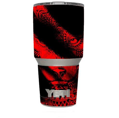 Skin Decal Vinyl Wrap (6-piece kit) for Yeti 30 oz Rambler Tumbler Cup / Aztec Lion Red