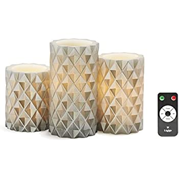 3 Silver Geometric Flameless Pillar Candles, Wax, Warm White LEDs, Remote & Batteries Included