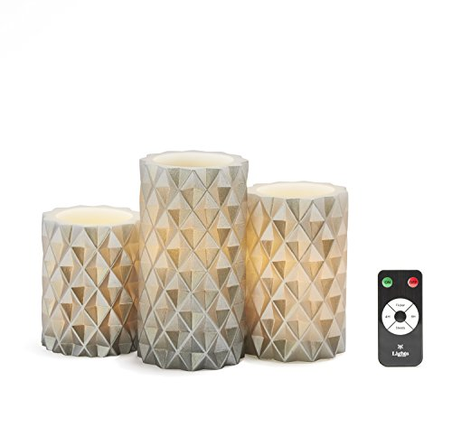 Silver Flameless LED Candles - Set of 3 Geometric Pattern Pillars, Real Wax, Warm White Lights, Remote & Batteries Included