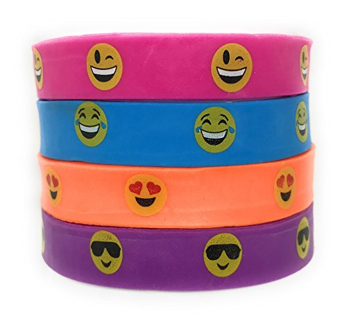 36 SVT Bulk Smiley Emoji Face Bracelets - Perfect Party Favors, Classroom Rewards or Just Plain - Smiley With Face Shades