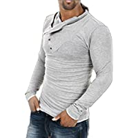 Mens elegante Tops Slim Fit Casual Fashion Camisetas Polo para hombre playera de manga larga