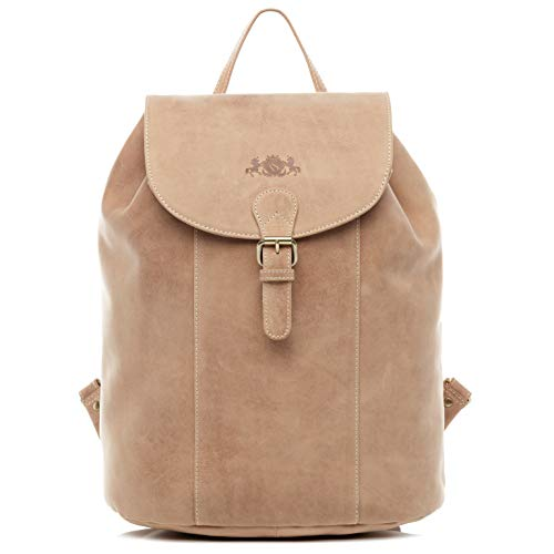 SID & VAIN Rucksack echt Büffel-Leder Charly groß Kurierrucksack Backpack Tagesrucksack Lederrucksack Unisex beige