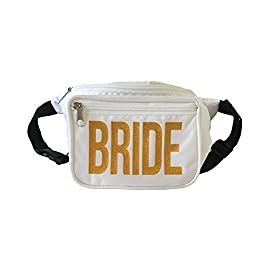 Bachelorette Box Bachelorette Party Bride Squad Fanny Packs 8 SHINE BRIGHT WITH GOLD GLITTER LETTER- These Bride Squad Fanny Packs will make sure you stand out with our unique gold glitter printing HOLDS ALL YOUR BACHELORETTE PARTY STUFF- Our waist bags have three pockets in them so that you don't have to worry about losing any of our personal items. Your bridal party can leave that heavy purse at home! NEW STYLE- We recommend these bags for girls who are tired of the old fashioned sash and tiaras that everyone else wears