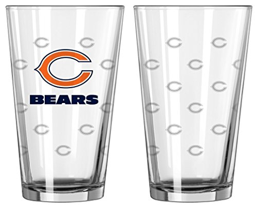 Boelter Brands NFL Chicago Bears Pint GlassSatin Etch 2 Pack, Clear, One - Satin Chicago Bears
