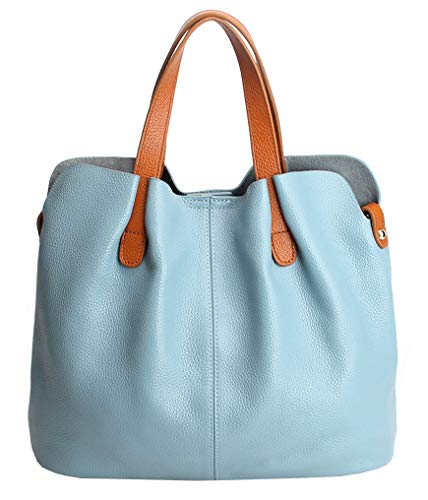 (Molodo Womens Satchel Hobo Top Handle Tote Geuine Leather Handbag Shoulder Purse,Light-blue,X-Large)