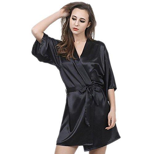 CHUNHUA camisón de seda de imitación manga de seda noble pijamas chándal , pink , l Black