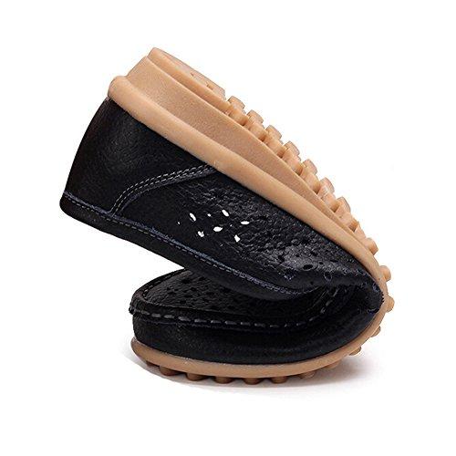 Leather Loafers Slip Flats Hattie Soft Black on Hollow Women Moccasins EfYHTwq6