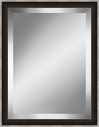 Watermark Collection Dark Brown and Silver Beveled Plate Mirror Framed Glass by Watermark Collection