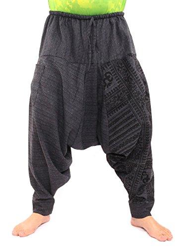Jing Shop Aladdin Harem Drawcord Baggy Pants Ethnic Om Sanskrit Print Black (70s Outfits For Men)