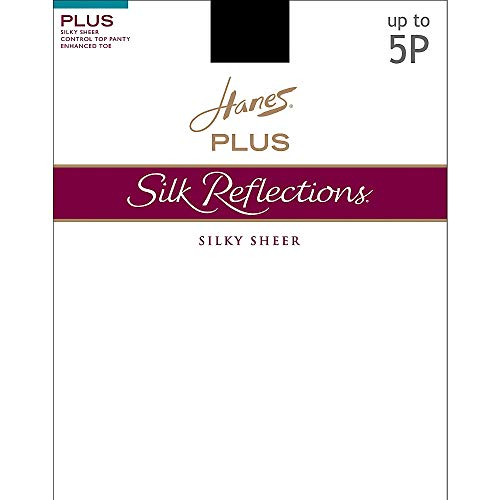 (Hanes Silk Reflections Plus Sheer Control Top Enhanced Toe Pantyhose, Barely There, 2P )