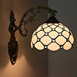 DSHBB Tiffany Style Wall Lamps - Single Head Retro Creative Stained Glass Wall Lights - Living Room - Bedroom Decoration Aisle Lights - Bedside Lamp (Color : Blue)
