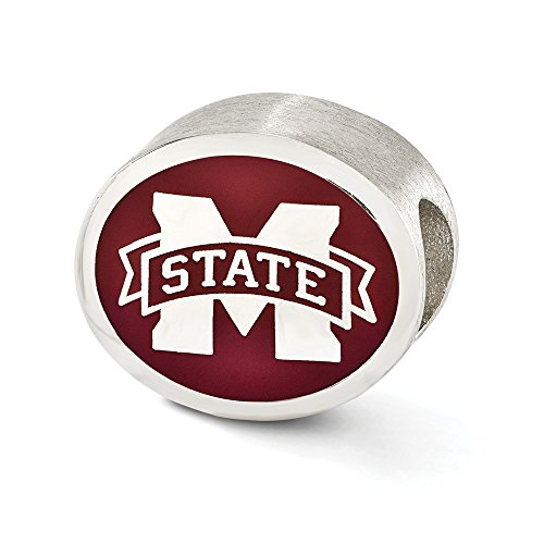 Roy Rose Jewelry Sterling Silver Enameled Mississippi State University Collegiate Bead