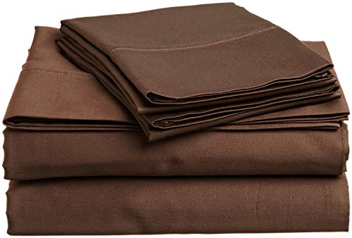 Sheet Set 4 PCs, 100% Egyptian Cotton, 400 Thread Count, Fitted Sheet fitt Upto 12 Inch Deep Pocket, Chocolate Solid, Full Size.