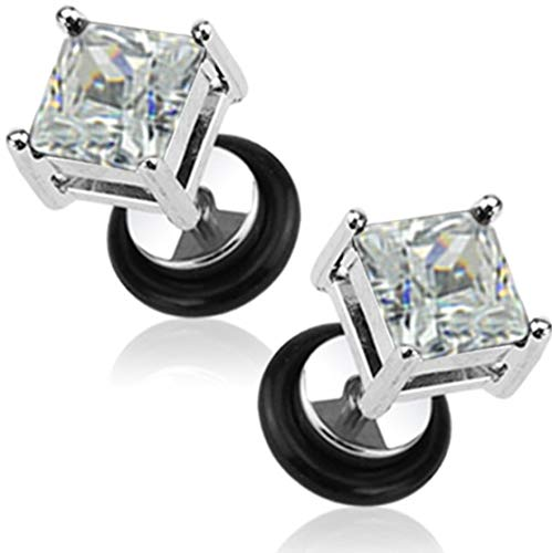 Forbidden Body Jewelry 16g Surgical Steel Square Crystal Dia Cut Cheater Plug Earrings (Clear CZ)