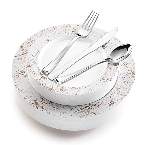 125-Piece Elegant Plastic Plates & Cutlery Set Service for 25 Disposable Place Setting Includes: 25 Dinner Plates, 25 Salad Plates, 25 Forks, 25 Knives, 25 Spoons (Silver Marble) - Stock Your Home
