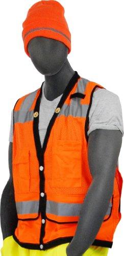 Majestic guante 75–3208tela de alta visibilidad chaleco de malla resistente con cierre, grande, naranja