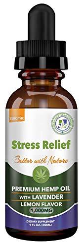 Hemp Oil 1000mg Stress Relief w/Lavender - Lemon Flavor: Pain Relief, Anxiety, Inflammation, Sleep, Nausea, Depression - for Help with Pain Relief & Anxiety Relief