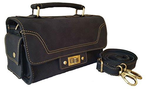 Lined Vintage Clutch (10 Inch Women's Leather Tote Bag Vintage Top Handle Shoulder Satchel Cross Body Purse Handbag Clutch)