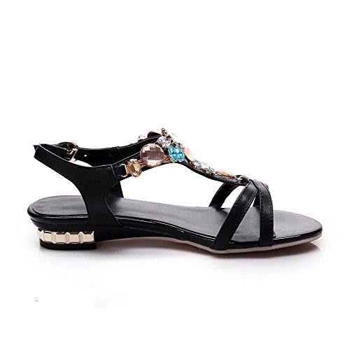 Low Black Sandals Open Heels Solid Womens Cow Toe AmoonyFashion Leather Buckle nxBIqOFA