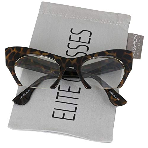 Brown Tortoise Frame (Cat Eye Eyeglasses Women Retro Vintage Razor Clear Lens Style Half Cut Off Frame (Brown Tortoise, 2))