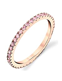Solid 925 Sterling Silver Rose Gold Pink Stackable 0.50 Carat TW Ring Micro Pave Wedding Band Eternity Cubic Zirconia Pink